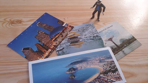 Beberapa koleksi kartu pos dari Jepang, Chicago, San Sebastian.